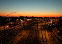 Dybblsbro Station (SirPecanGum) Tags: desktop railroad sunset red wallpaper orange train copenhagen denmark evening background tracks railway ubuntu ocelot 1110 oneiric dybblsbro