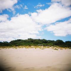 Clouds 2 (Kerrie McSnap) Tags: blue 120 beach mediumformat holga lomo lomography sand toycamera wa westernaustralia skyclouds bunkerbay
