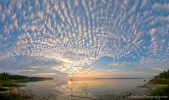 Sunrise on the 45th(parallel) ... panorama (Ken Scott) Tags: summer panorama usa clouds sunrise michigan august lakemichigan greatlakes suttonsbay freshwater leelanau 45thparallel fhdr nearthe45thparallel kenscottphotography kenscottphotographycom