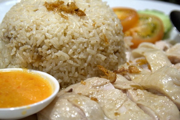 Malaysian chicken rice at Malacca Straits on Broadway