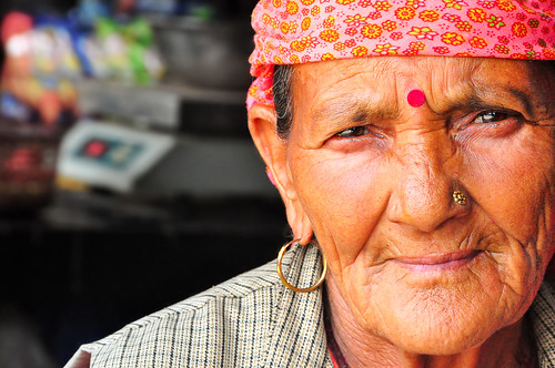 Portrait of a Himachali Old Woman in Grocery Shop