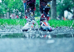 (tyreke.white) Tags: trees cambridge reflection green feet water rain yard 35mm puddle nikon dof boots bokeh shallow splash 18 gravel d5000