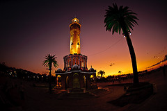 Watch Tower of Izmir / Sunset (koolandgang) Tags: light sunset sky sun turkey nikon trkiye palm fisheye nikkor f28 smyrna izmir watchtower gnbatm saatkulesi d700 flickraward flickrunitedaward ringexcellence