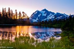 Mt. Shuksan Sunrise (~ Bob ~) Tags: reflection beautiful sunrise landscape washington nationalpark alpine washingtonstate mtshuksan firstlight cacscademountians tpslandscape