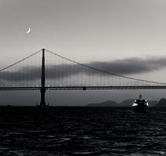 Moonrise (pveerina) Tags: bridge moon white black ferry night golden gate san moonrise fransisco