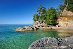 """Michigan's Caribbean""  (The Coves)  Pictured Rocks National Lakeshore (Michigan Nut) Tags: blue usa beach beautiful geotagged landscapes greatlakes coastline caribbean lakesuperior coves bornfree picturedrocksnationallakeshore johnmccormick hikingmichigan michigannutphotography nikon1635mmf4gedafsvrwideanglezoomlens july32011"