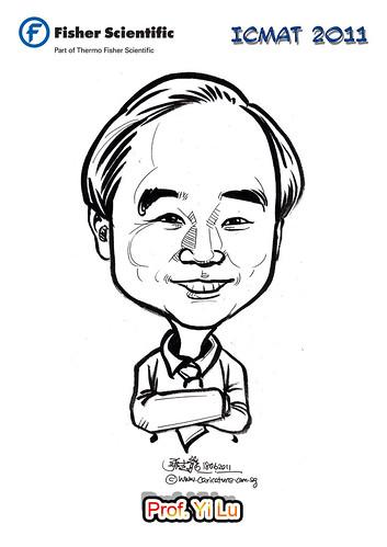 Caricature for Fisher Scientific - Prof. Yi Lu