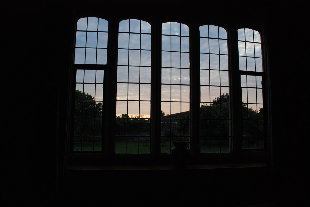 view from the dining room windows as the sun set