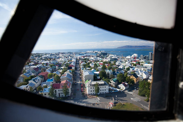 View of Reykjavik Through the Hallgrimskirkja Clock Face