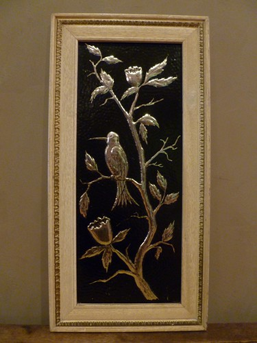 Vintage Metal embossed brass & black picture