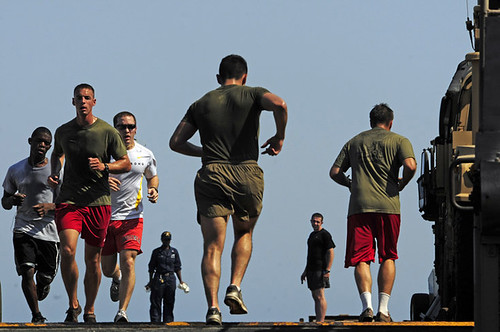 Sailors and Marines participate in the inaugural Comstock Independence Day 5K run.