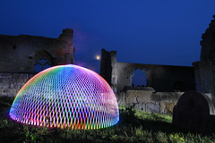 Multi Coloured Dome ([inFocus]) Tags: nottingham light cemetry moon colour church st yard canon ball painting ruins long exposure dusk mary hologram orb luna projection sphere dome 7d laser junkie 1022mm bassett colston explored