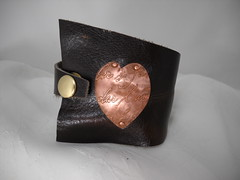 True Heart Cuff (brightcreations1) Tags: leather heart jewelry copper cuff