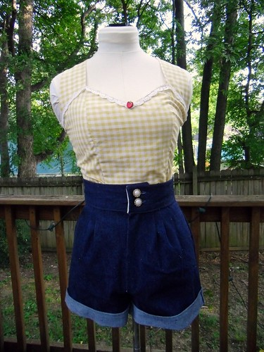 gingham halter & denim shorts