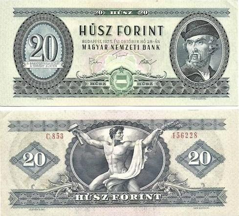 20 Forintov Maďarsko 1975, Pick 1969f
