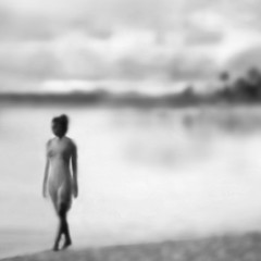 """vague"" (helmet13) Tags: d90 raw bw mauritius woman beach blur selectivefocus walker bay water sky clouds silence endurance reflection vague 100faves world100f aoi peaceaward platinumpeaceaward simplicity"