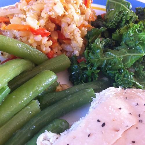Dinner: roast chicken, kale, green beans, and veggie rice!
