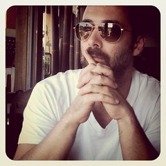 My love ...husband in his Oliver Peoples Benedict sunglasses