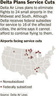 Delta Air Lines plans service cuts to small airports