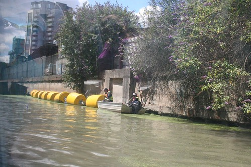 Canal barrier opened to let us pass