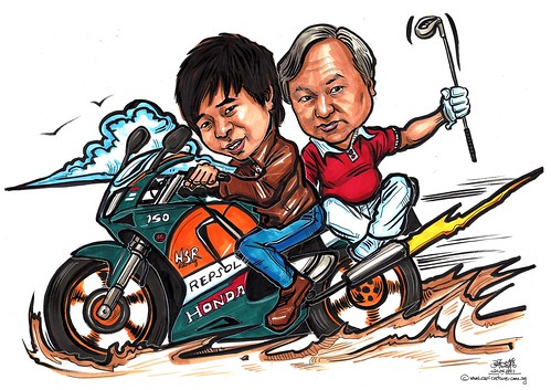Father & Son caricatures on Honda SP NSR 150