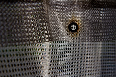 206/365 (Tom Wachtel) Tags: shadow white net rust pattern hole curtain rusty ring fabric material fold 365