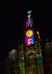 Macula Spectacular, Liver Building (.annajane) Tags: uk england clock festival digital liverpool river lights artwork 60s anniversary 100th 100 liverbird mersey pierhead projections liverbuilding onthewaterfront themacula maculaspectacular 3dsonetlumiere