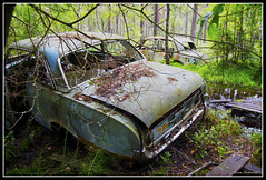 Disintegrated Ford Taunus 17m P3. (mokastet) Tags: world auto road park wood old travel trees wild summer vacation urban tree green history classic cars ford abandoned nature wet car rain rural forest photoshop vintage wagon photography photo junk rust ruins automobile paint pretty view transformation image sweden antique decay painted transport neglected rusty roadtrip historic spooky nostalgia forgotten depression stunning oldtimer weathered sverige autos roadside lovely oldcar wreck past preserve taunus deserted automobiles decayed weatherbeaten photomatix fordtaunus kyrkmosse fordtaunus17mp3 mokastet