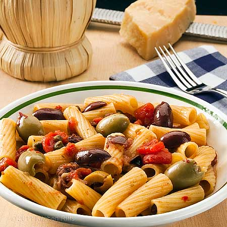 Pasta Puttanesca in bowl