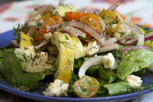 Poona Kheera Cucumber Salad with Dill, Feta, Red Onion and Cherry Tomatoes on Romaine