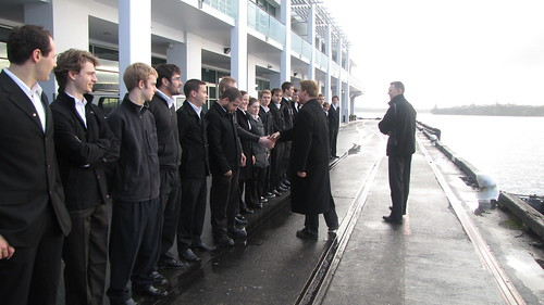 Meeting with cadets from the NZ Maritime School, as they wait to welcome the Golden Bear
