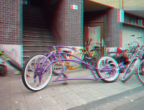 FBI city street cruise at the Chopper dome in Amsterdam, 3D photo (anaglyph)