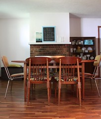 IMG_6653 ({mandyford}) Tags: china wood modern vintage table fireplace chairs cabinet retro dining midcentury milkglass