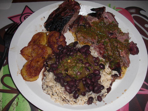 Dinner Churasco with Beans and Rice