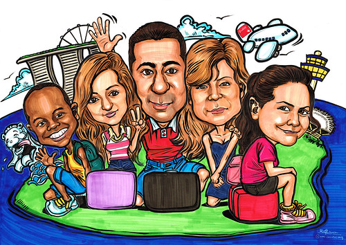 family farewell caricatures for P&G