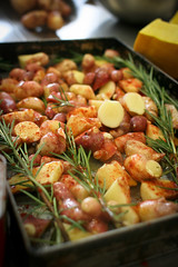 Pink fir spuds, ready for roasting