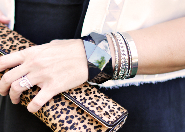leopard clutch +arm party +bangles+ring+bracelets