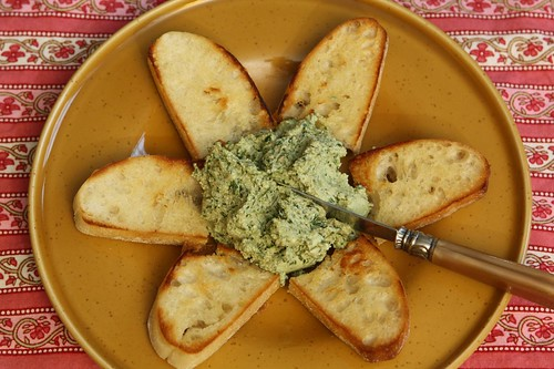 Grilled Ciabatta with Pesto Ricotta