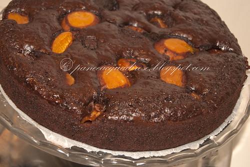 Torta umida al cacao con albicocche