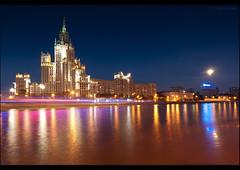Moscow. Stalin's skyscraper at Kotelnicheskaya embankment. (Yuri Degtyarev) Tags: moon ex skyscraper river moscow sony sigma 100 alpha dslr embankment a100 1224 slik  cokin   pseries stalins 12244556 dslra100 alpha100 gnd8 p121s  kotelnicheskaya