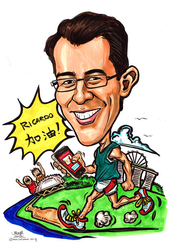 caricature of a marathon runner
