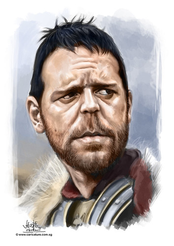 digital colour caricature of Russel Crowe