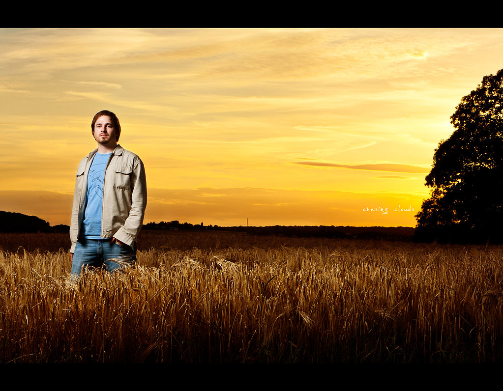 Project 365, 337/365, Day 337, Strobist, Self Portrait, field, warm, dusk, sunset, clouds, golden, Canon EF 24-70 f2.8, onelight, one light,