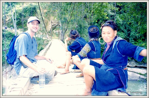 Me on a bridge with Hmong women