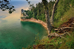 """Miners Castle""  Pictured Rocks National Lakeshore - Munising , Michigan (Michigan Nut) Tags: sunset usa sunlight lake tree beach geotagged coast sandstone cove shore birch lakesuperior picturedrocksnationallakeshore algercounty minerscastle"