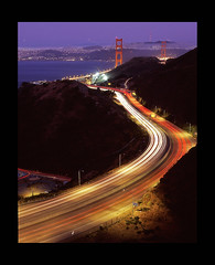 Circuitous (RZ68) Tags: bridge blue light cars film night mediumformat golden evening bay twilight highway gate san francisco long exposure traffic marin trails goldengatebridge hour goldengate freeway headlands streams 6x7 streaks rz68