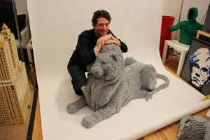 Lego NYPL Library Lion with Nathan Sawaya in Studio
