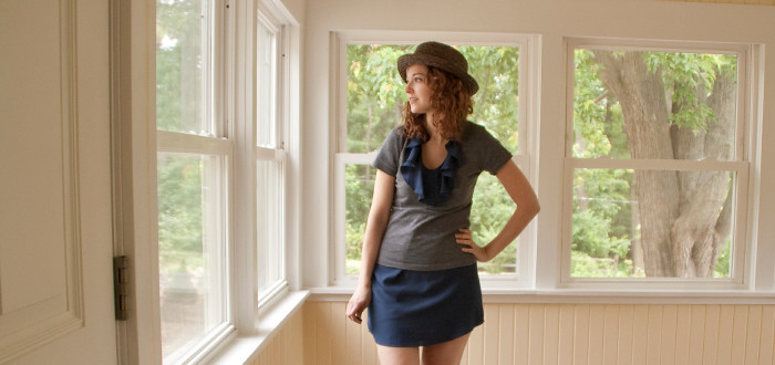 dashdotdotty dash dot dotty tee and dress layered navy and gray oxfords & a boater hat outfit for summer