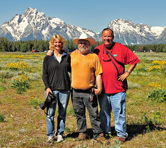 Teton Trio (Jeff Clow) Tags: friends friendship wyoming grandtetonnationalpark jeffclow flickrmagic jacksonholewyoming darylhunter debydixon flickrmeetupinthetetons