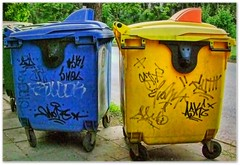 Rubbish (maistora) Tags: road street city blue urban color colour green art texture grass yellow modern river graffiti canal bush grafitti sofia contemporary smoke wheels dump dirty bin clean container plastic bulgaria burn vandal rubbish vandalism environment waste refuse recycle urbanjungle municipal vandalize castors vandalise oborishte maistora    contrasttree patinagrit